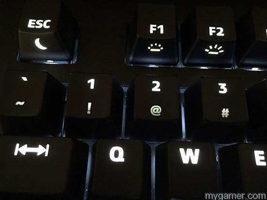 F1 & F2 control the board's light levels Das Keyboard Prime 13 Review Das Keyboard Prime 13 Review Das Keyboard Prime13 Lit Up4