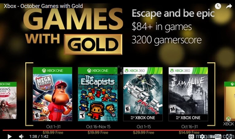 Xbox Live Games Free Games With Gold Announced for October 2016 Xbox Live Games Free Games With Gold Announced for October 2016 Games with Gold Oct 2016