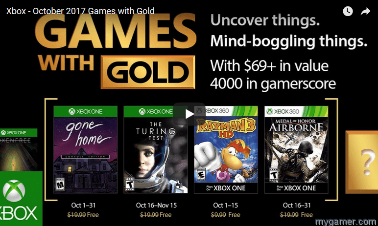 Free Xbox Games Gold Oct 2017