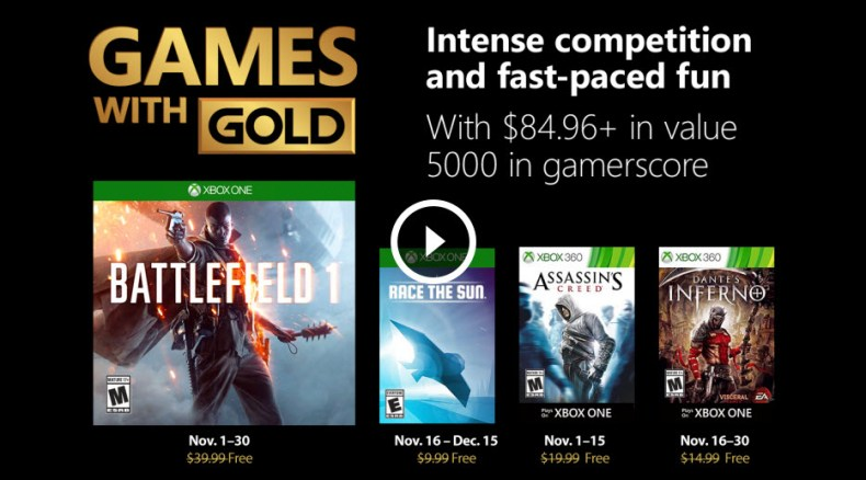 Xbox Games with Gold Nov 2018