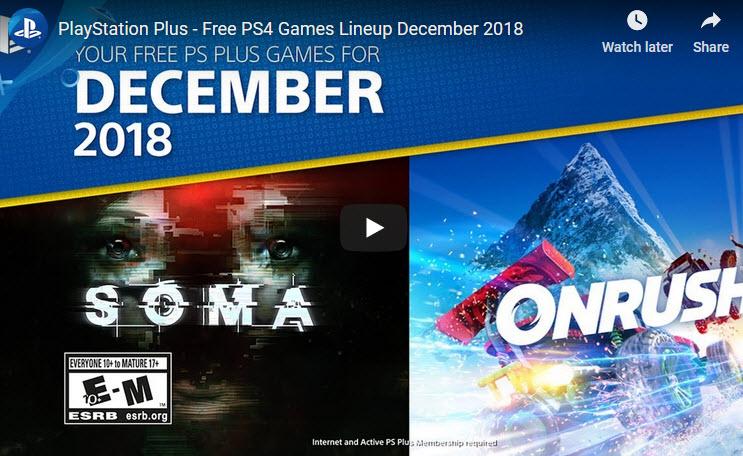 PS Dec 2018 free Sony