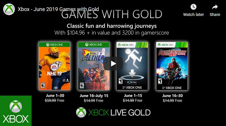 XBox Live Games with Gold Jun 2019