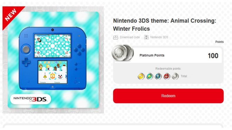 3DS theme Animal Crossing Winter Frolics