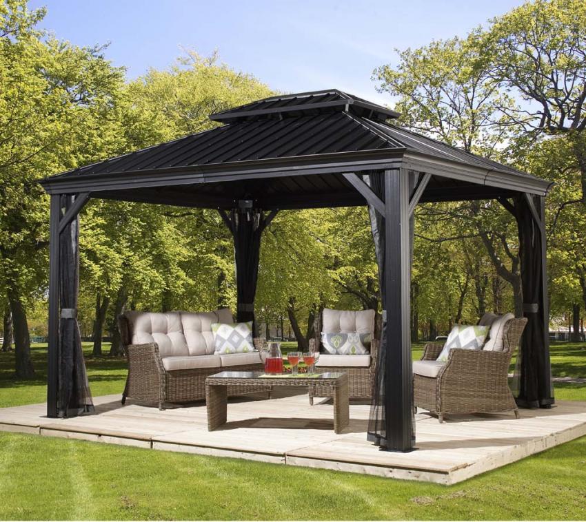 sojag aluminium pavillon gazebo messina 10x12 inkl moskitonetz 298x363 cm