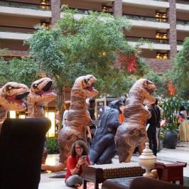 T-Rex Suits lead by Godzilla at A-Kon 27