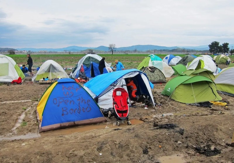 refugges in tents