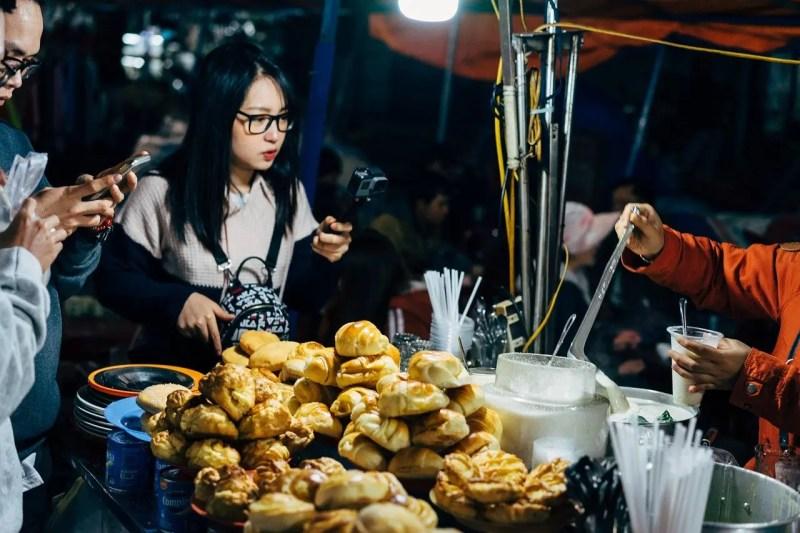 Food market in asia selling bread