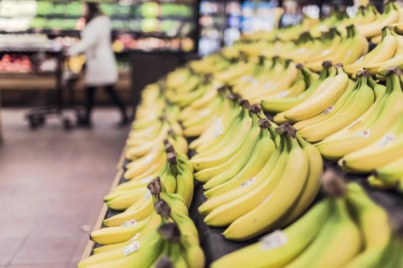 Bananas on the supermarket shelf