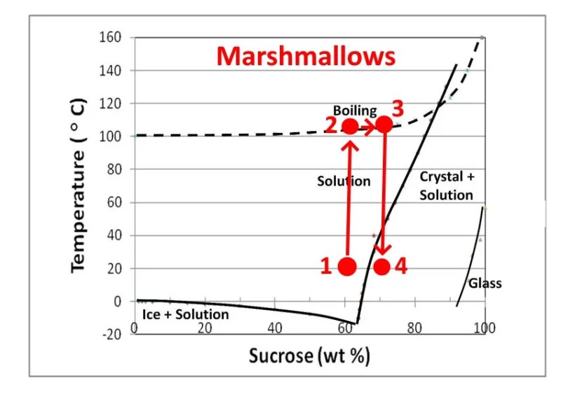 Production process for marshmallows