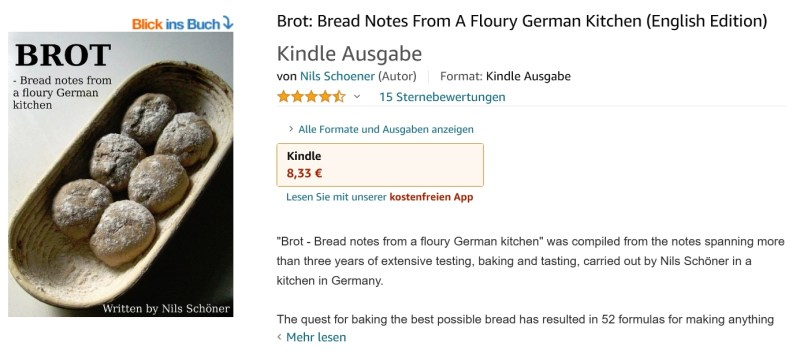 Amazon site for Bread notes from a floury german kitchen