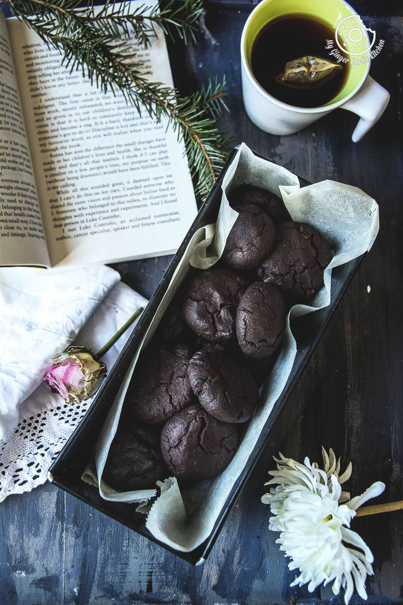Eggless Triple Chocolate Cookies | mygingergarlickitchen.com/ @anupama_dreams