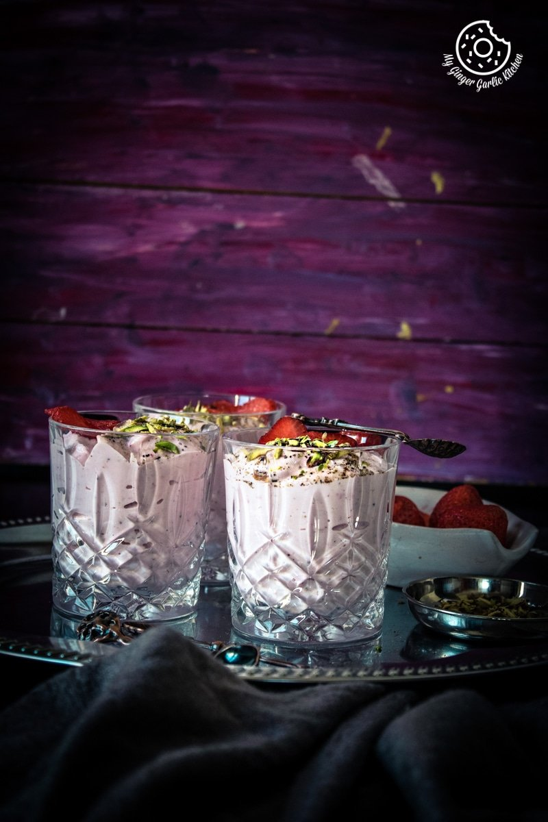 Instant Strawberry Shrikhand Recipe | mygingergarlickitchen.com/ @anupama_dreams