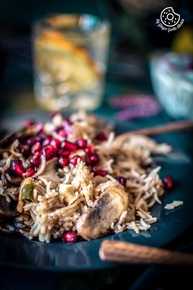 Mushroom Pulao Recipe (Pressure Cooker - Instant Pot) | mygingergarlickitchen.com/ @anupama_dreams