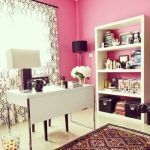 Pink Office With Patterned Curtain And Rug Room Decor And
