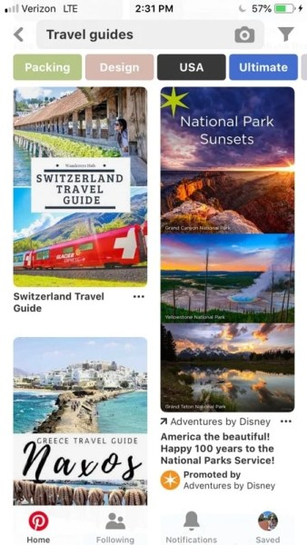 Pinterest is one of the best apps for travel inspiration.