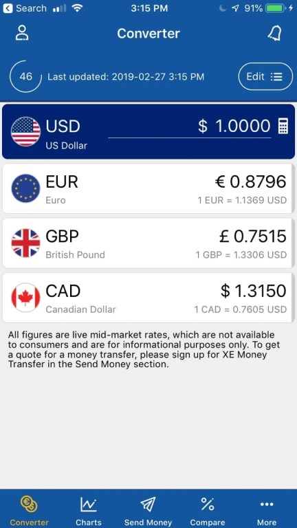 XE Currency is a great app for calculating currency exchange