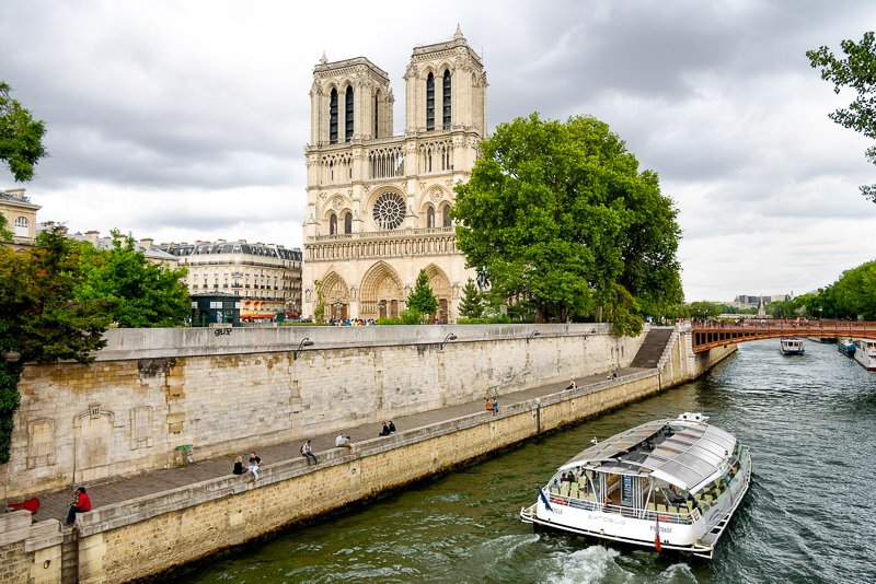 Notre-Dame Cathedral from the River Seine, Paris.