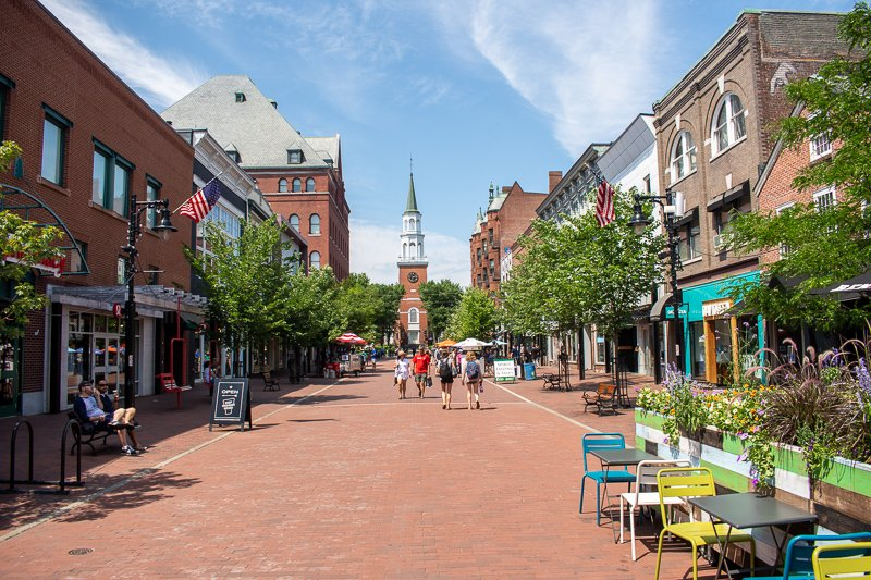 Church Street in Burlington is one of the best ways to spend a weekend getaway in New England.