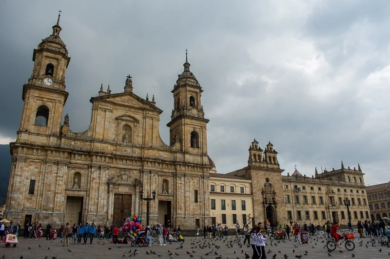 Bogota travel guide: There were infinitely more pigeons than people in the Plaza de Bolívar.