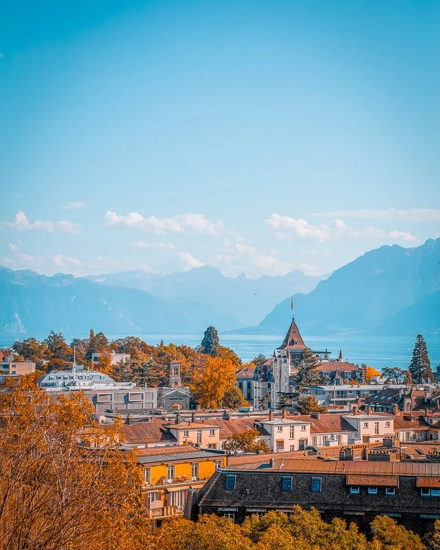 Lausanne's skyline with mountains in the background