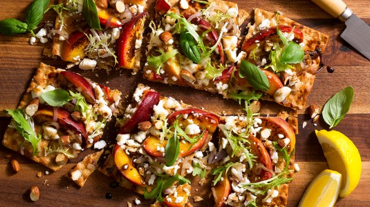Charred peach feta flatbreads