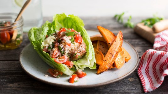Lettuce-Wrapped Turkey Burgers Tomato Relish Sweet Potato Fries