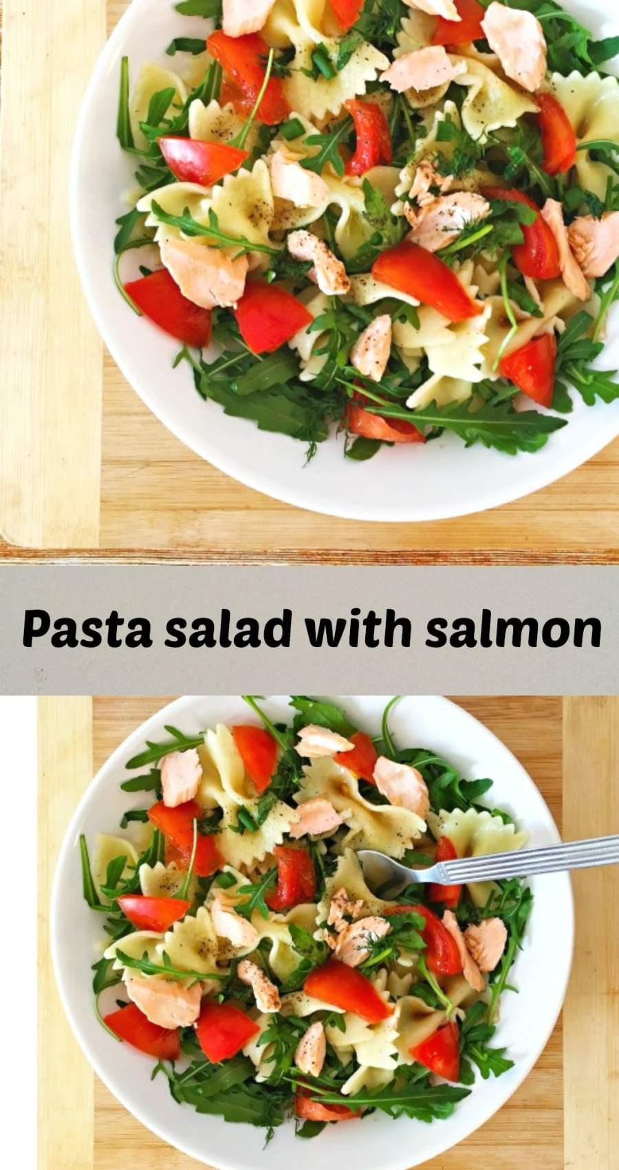 Pasta salad with salmon