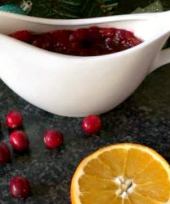 Homemade cranberry sauce with orange juice