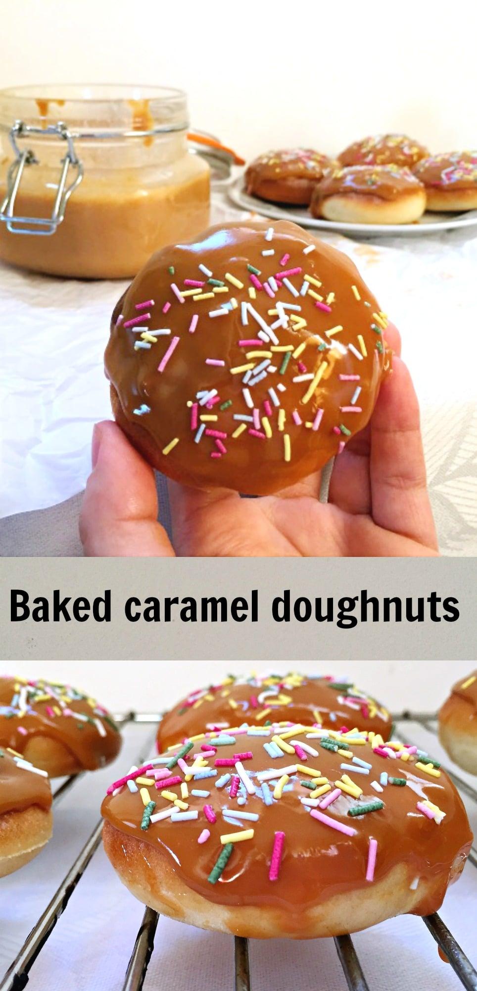 Baked salted caramel doughnuts