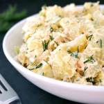 Deviled egg potato salad with salmon