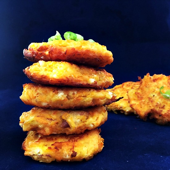 Carrot, apple and cheese fritters