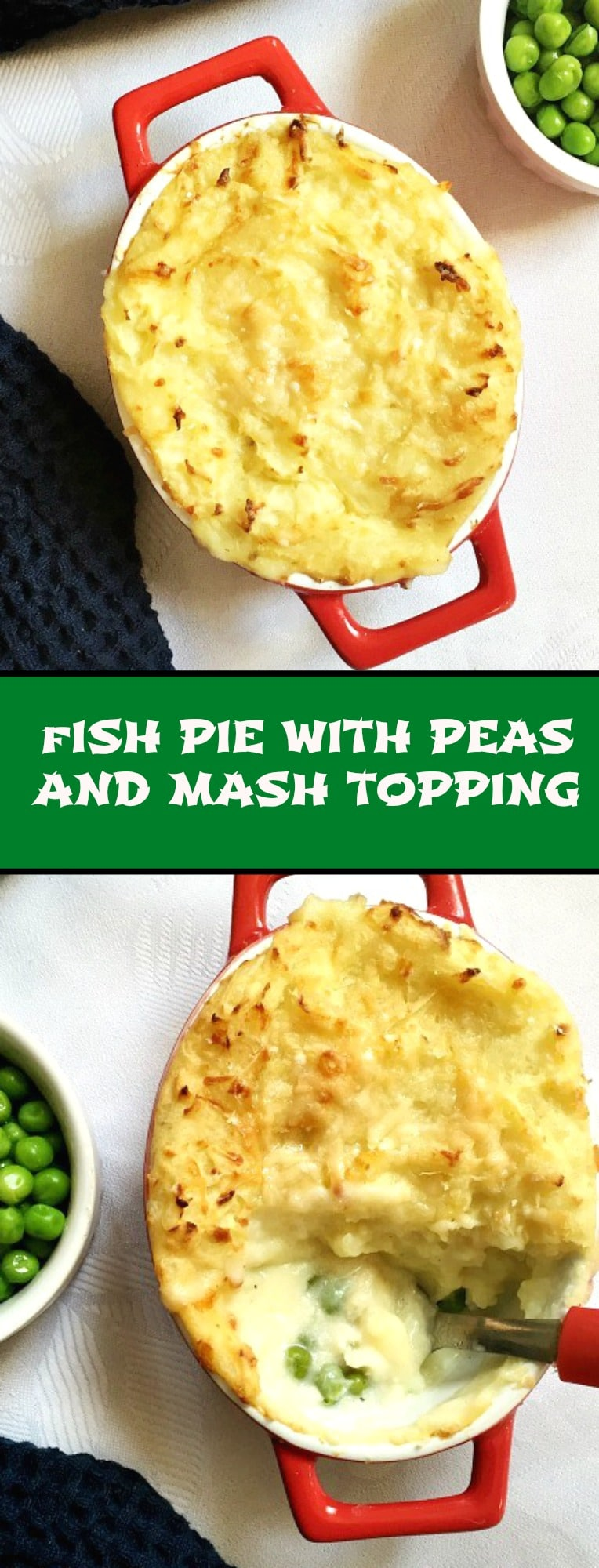 Fish pie with peas and mash topping