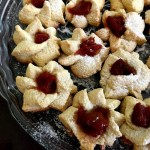 Shortbread thumbprint cookies on a plate