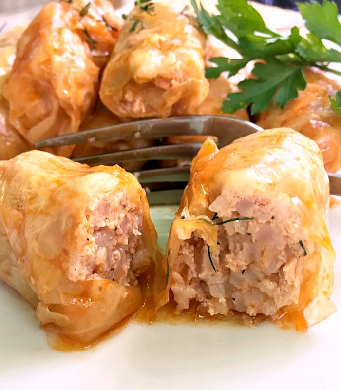 Romanian stuffed cabbage rolls with chicken and rice or Sarmale, the country's national dish.