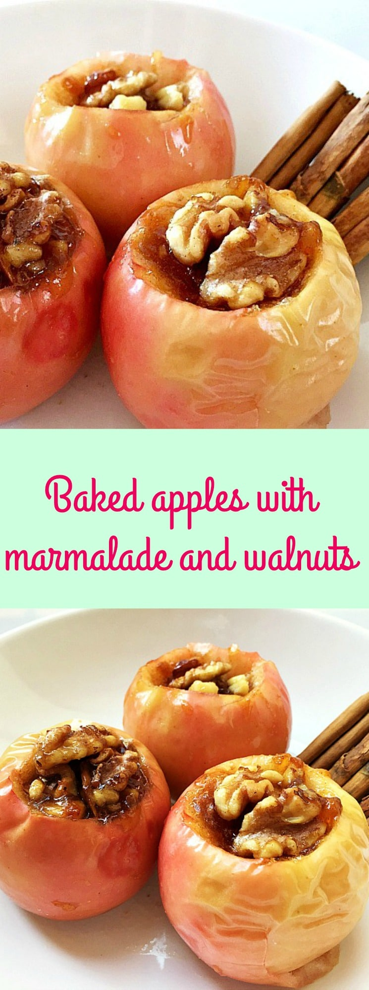 Baked apples with marmalade and walnuts