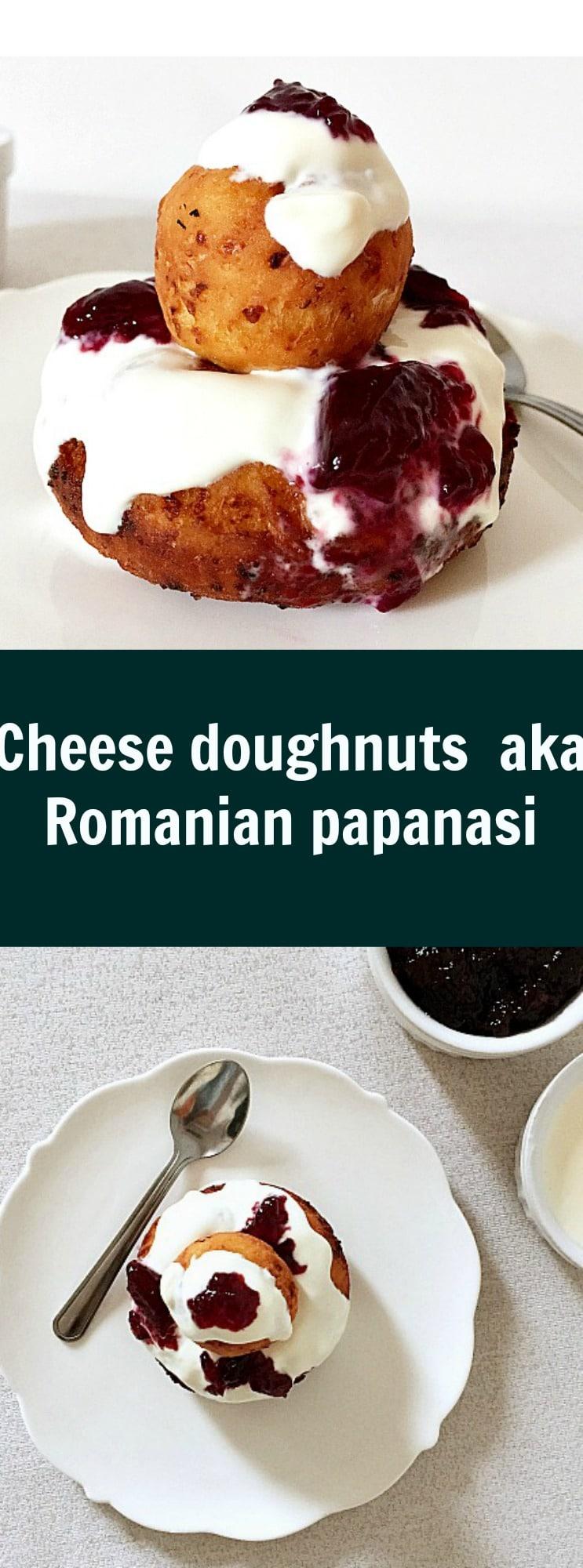 Cheese doughnuts aka Romanian papanasi