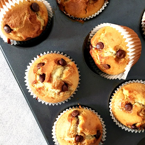 Chocolate chip muffins with cherry jam filling