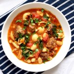Hearty meatball minestrone soup