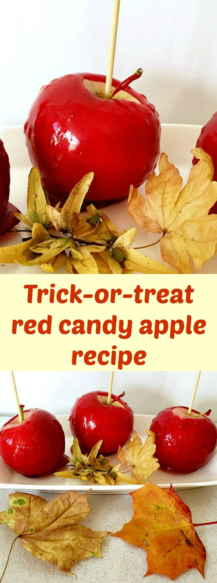 Trick-or-treat red candy apple recipe, perfect for the Halloween treat bag. Kids' favourite candy apples.