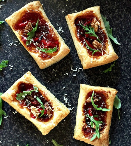 Puff pastry tarts with caramelised onions and pickled red peppers