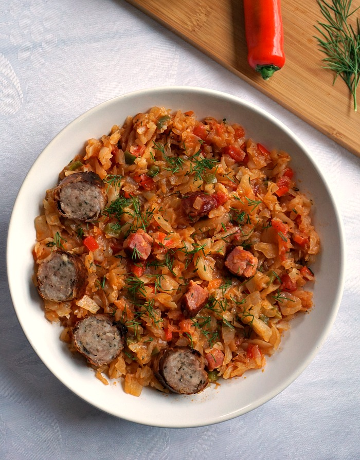 Braised cabbage recipe with ham and sausages