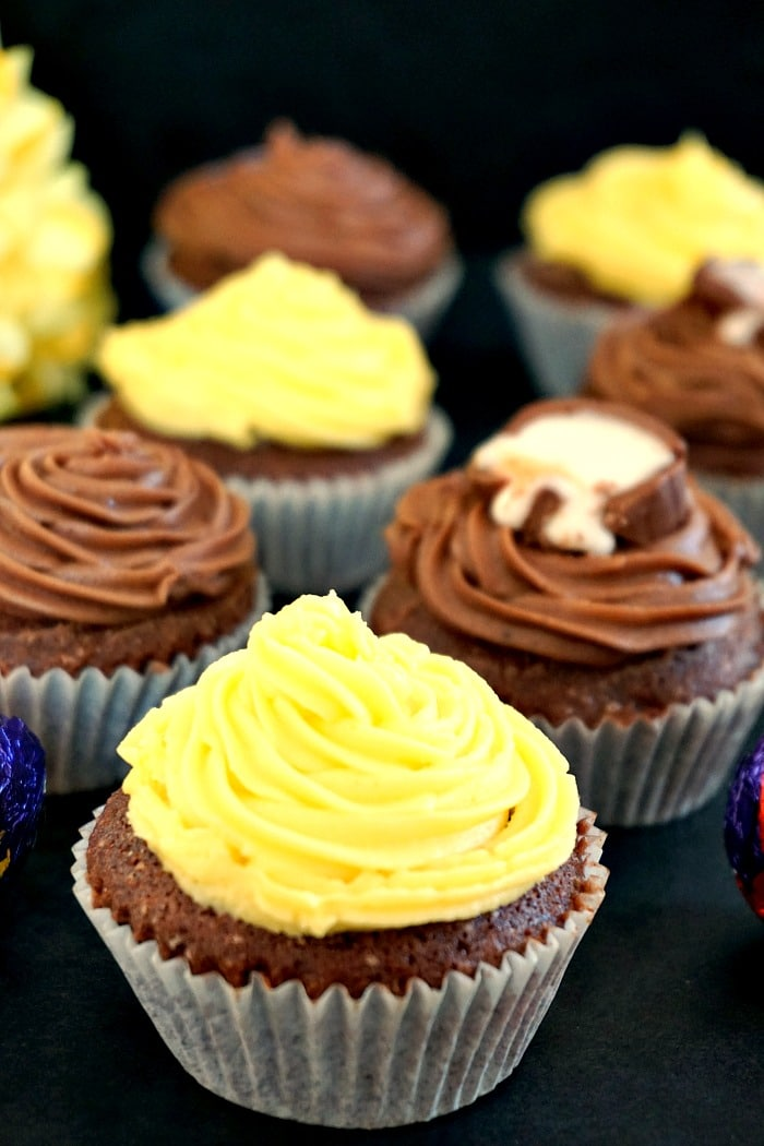 Cadbury creme egg cupcakes with a choice of lemon or chocolate icing, a fantastic Easter dessert.