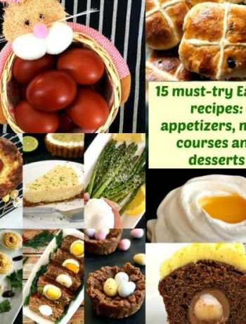 Collage of photos with traditional Easter Foods
