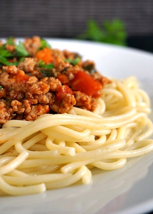 Close-up shot of a white plate with spaghetti and turkey bolognese sauce.