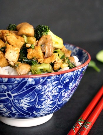 Tofu, broccoli and mushroom stir fry with basmati rice