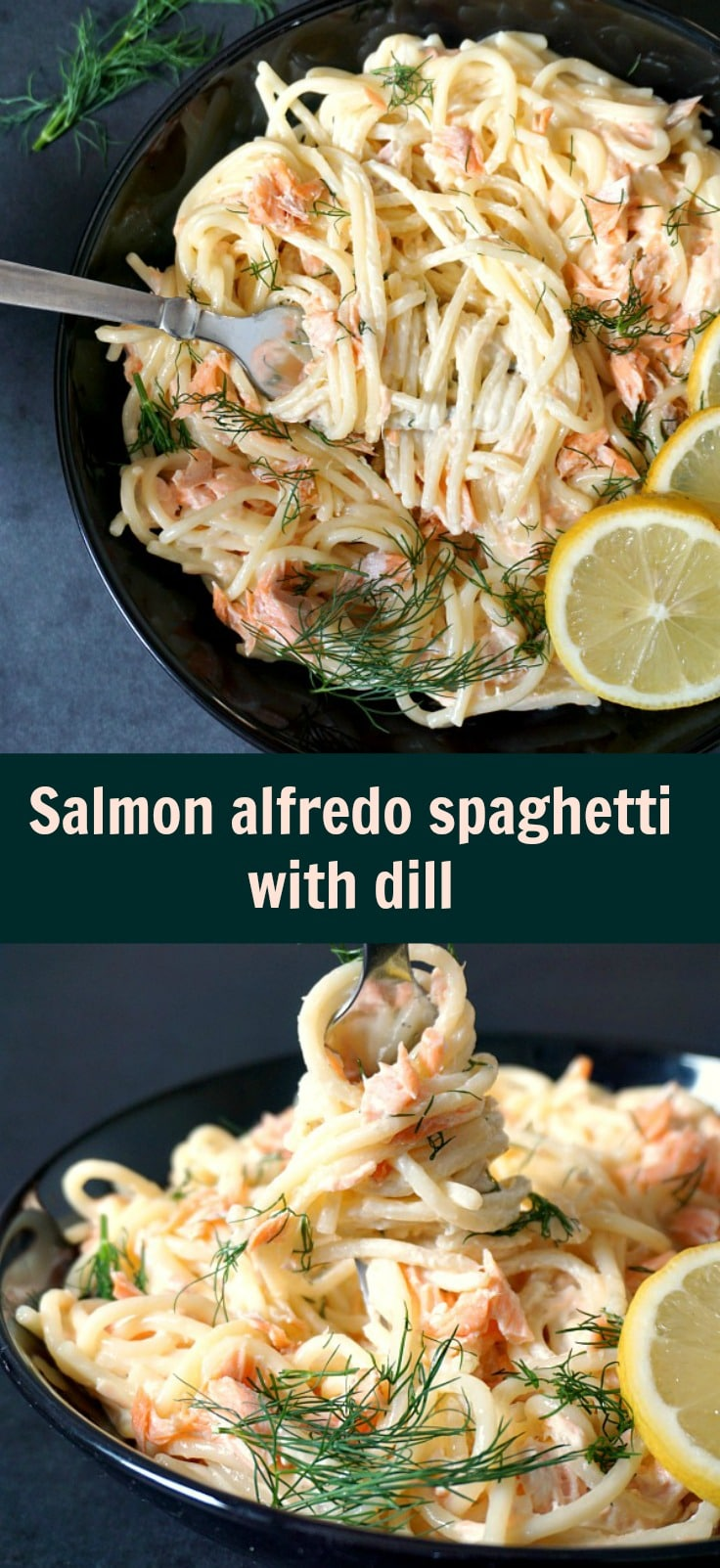 Salmon alfredo pasta with dill