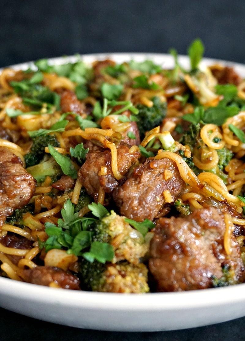 Super tender beef with broccoli noodle stir fry