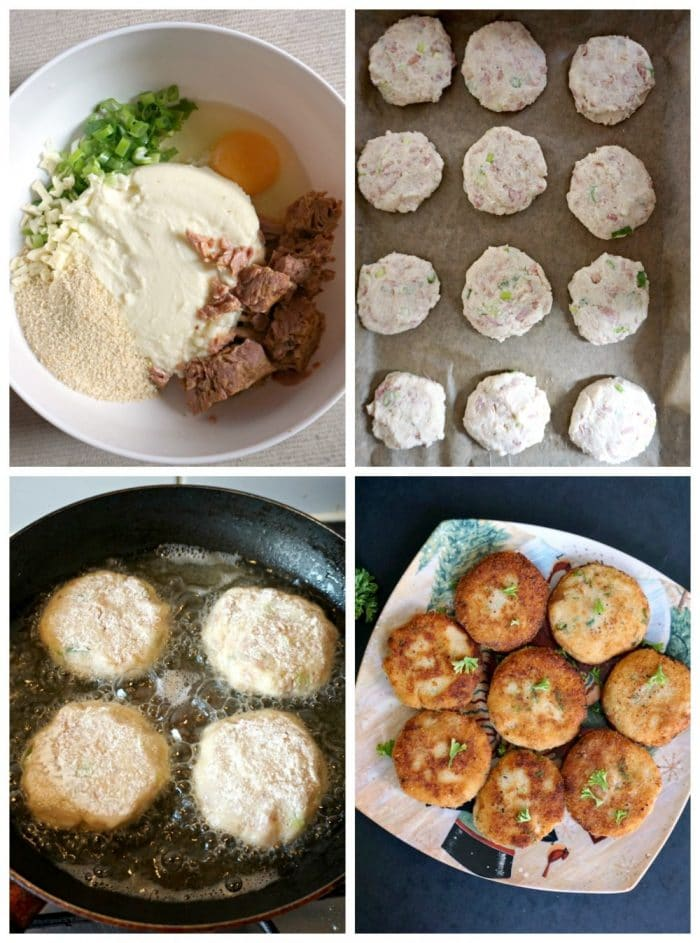 Collage of 4 photos with step-by-step instructions how to prepare mashed potato tuna patties