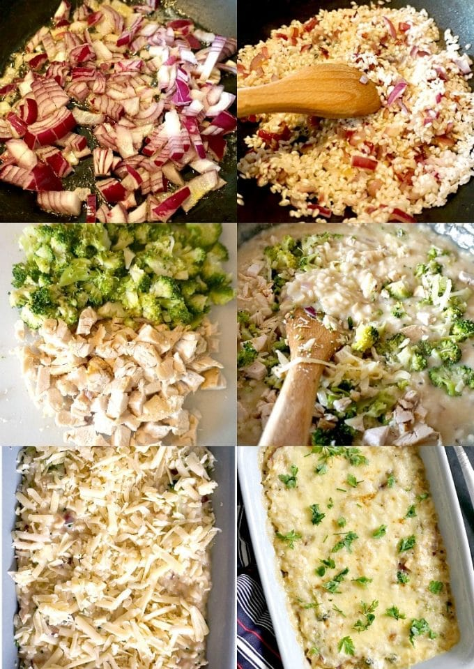 Collage of 6 photos to show step-by-step instructions how to make the cheesy chicken rice broccoli casserole
