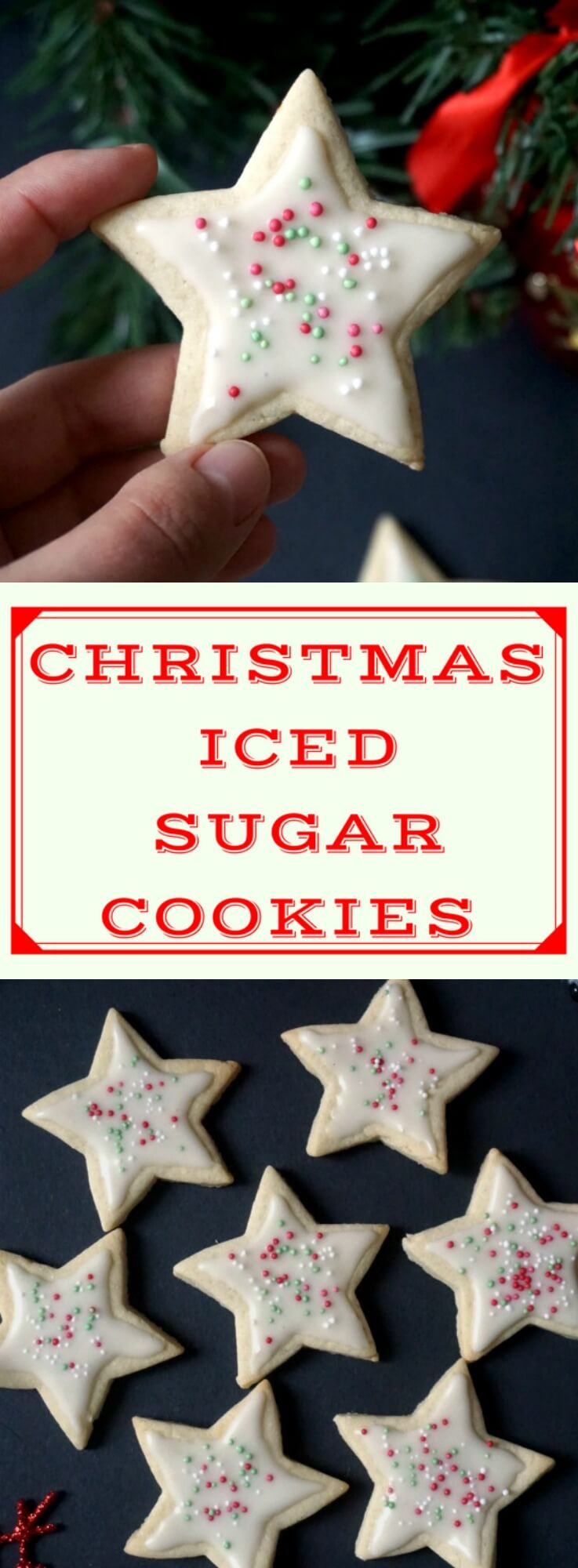 Christmas Iced Sugar Cookies, a star-shaped sweet treat for kids and grown-ups alike. Great as homemade edible gifts for families and friends.